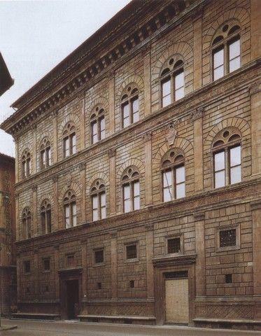 Palazzo Rucellai, Florence, Alberti, 1446, Is duidelijk inspiratie op klassieke tijd, arcades/aquaduct achtig, simpel huis wat regelmatig geworden is, klassieke orde toegepast: versiering, nagedacht over harmonie. Dat konden ze terugvinden in dat klassieke systeem van Vitruvius.