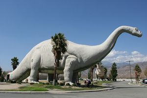 """Cabazon Dinosaurs, Cabazon, California -  """"World's biggest dinosaur"""" featured in Pee Wee's Big Adventure, now houses a creationist museum in its abdomen"""