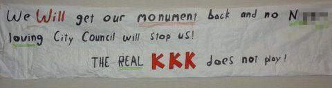 Emina Huskanovic: #KKK Banner Found #Racism #HateCrime #KKK Symbol  This banner was found outside the Rockingham County School District administration building. The monument in question was knocked down by a driver last year. The North Carolina United Daughters of the Confederacy got the green light to erect a new statue in the city-owned cemetery for Confederate soldiers.Using symbols to hurt certain racial groups intentionally is racism. (Fitzgerald,2014,p.10,).#Chapter1