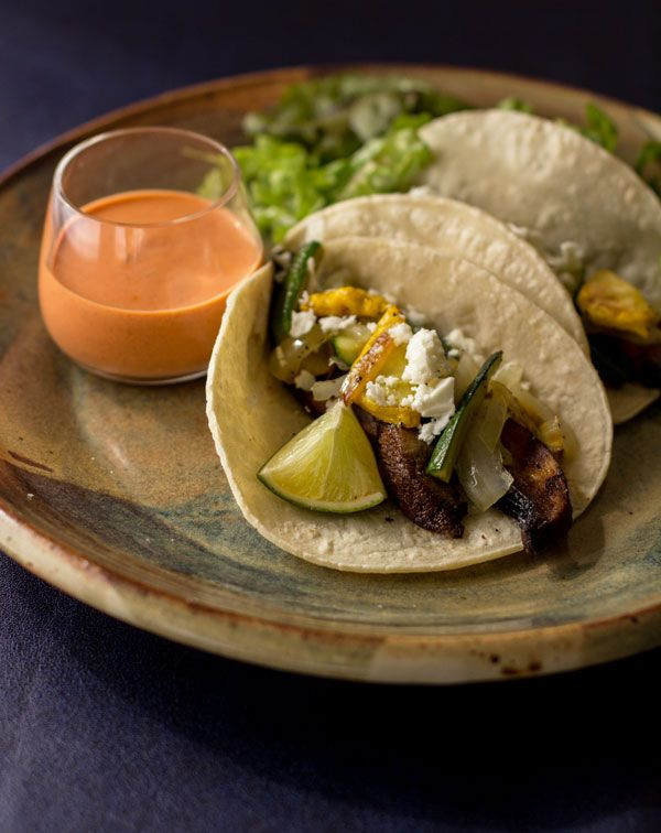 Grilled Portabello Tacos with Red Chile-Yogurt Sauce