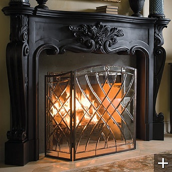 My fireplace screen - absolutely stunning and looks BEAUTIFUL when a fire is going.....stunning!!!    Victoria Glass Fireplace Screen