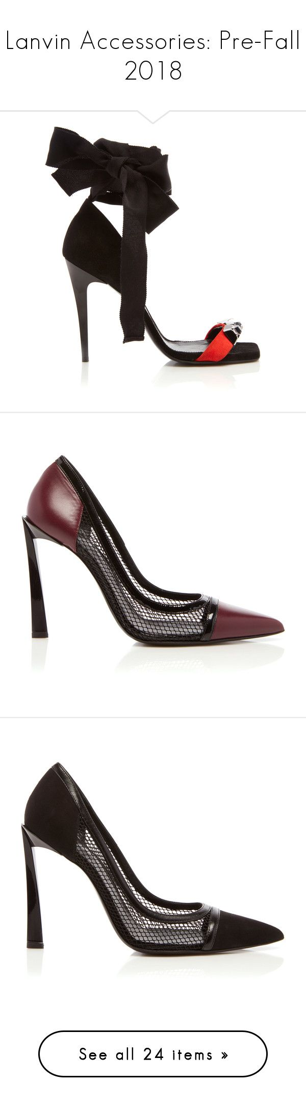 """""""Lanvin Accessories: Pre-Fall 2018"""" by livnd ❤ liked on Polyvore featuring shoes, Lanvin, livndshoes, livndlanvin, prefall2018, sandals, studded sandals, satin shoes, ribbon shoes and embellished sandals"""