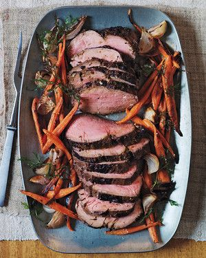 Be sure to let the meat rest 45 minutes or it will be underdone. It's delicious with roasted carrots and shallots.