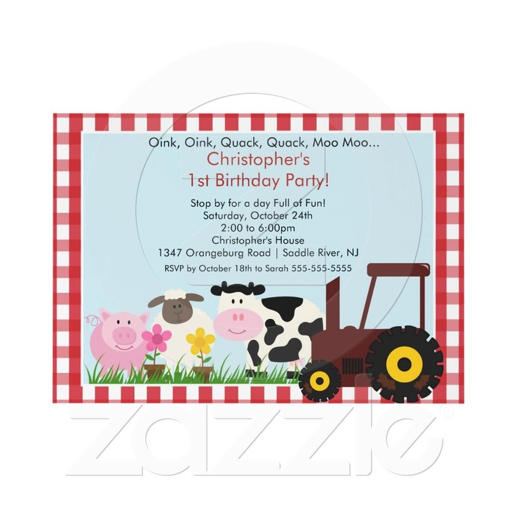 20 best Farm Birthday Party Invitations images on Pinterest | Farm ...