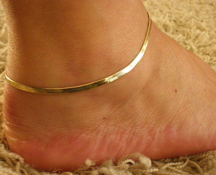 "9"" Gold GP 2mm Flexible Herringbone adjustable Ankle leg Bracelet Anklet, gold anklet, charm anklet, adjustable Anklet. $9.99, via Etsy."