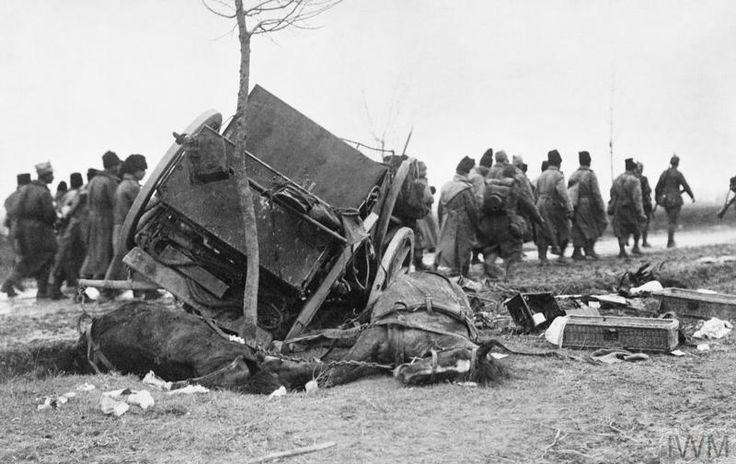 WWI, Dec 2, 1916 - Desperate Romanian Counteroffensive to Save Bucharest.  Pictured - Romanian prisoners pass a destroyed artillery limber and dead horses.