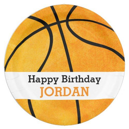 Kids Personalized Basketball Happy Birthday Orange Paper Plate