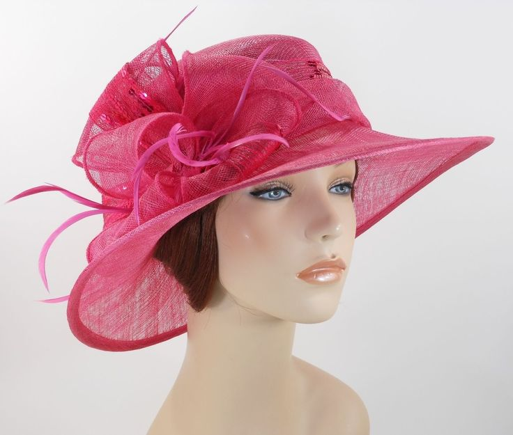 Woman Kentucky Church Derby Wedding Sinamay Ascot Dress Hat 2943 Hot Pink