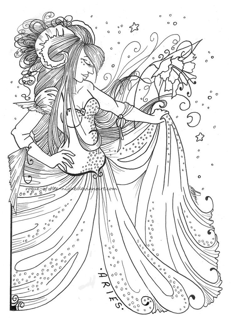 aries zodiac sign difficult coloring pages for grown ups