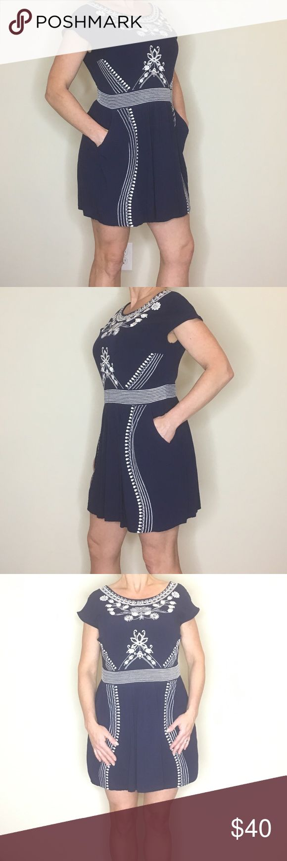 Anthropology Dress! Pretty embroidered details, from Anthropology had short sleeves and is very Versatile Alya, Anthropology Dresses Mini