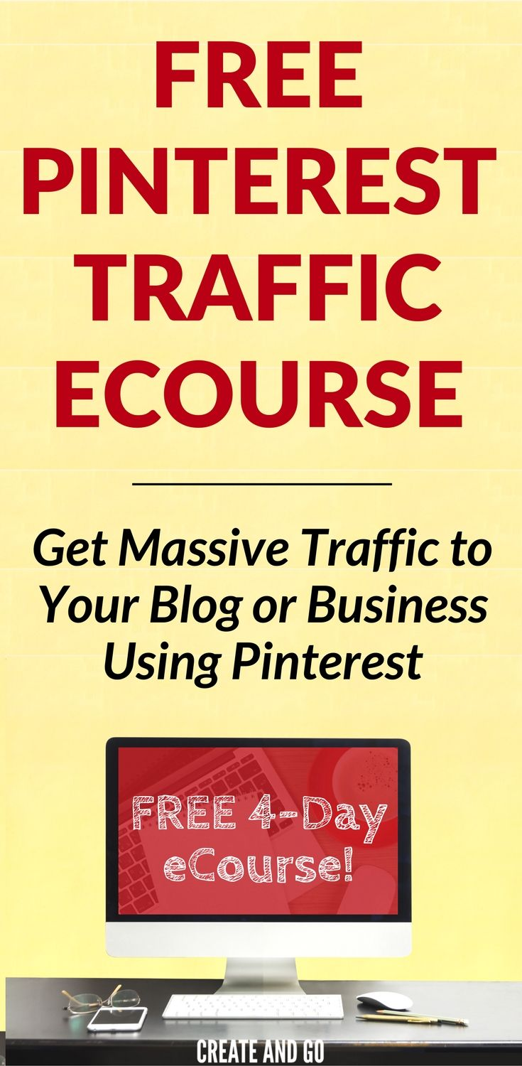 We get over 500,000 monthly unique visitors to our blog and we will show you exactly how we do it! Get your FREE Pinterest traffic eCourse by putting in your email on this page: http://createandgo.co/free-pinterest-ecourse-v2