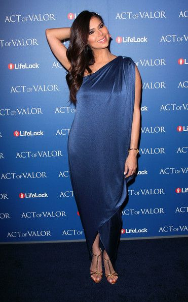 Roselyn Sanchez Evening Dress - This sapphire silk Grecian gown was an effortlessly elegant look for Roselyn.