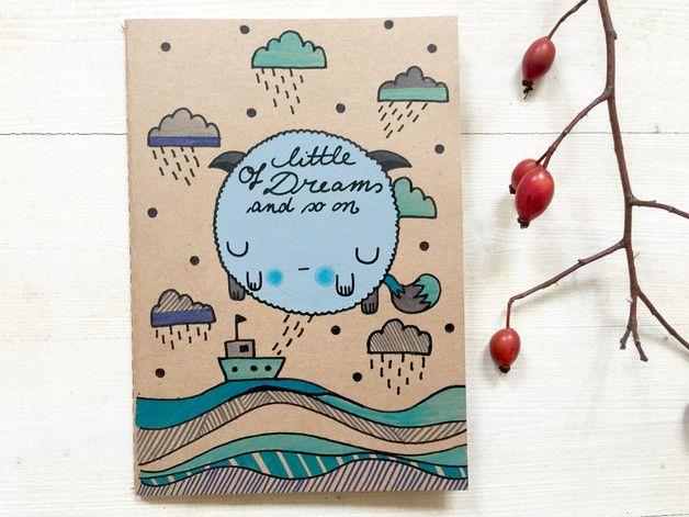 Blankes Notizbuch für Deine Skizzen und Handletterings mit Illustrationen / illustrated blank notebook for you handletterings made by tigapigs via DaWanda.com