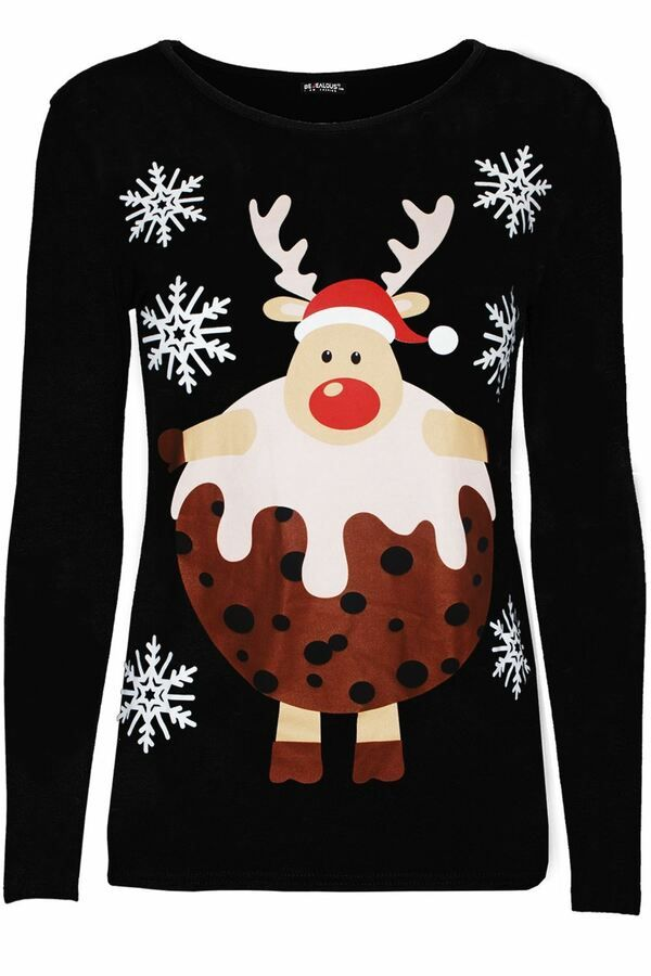 Womens Ladies Christmas Long Sleeve Xmas Santa Claus Suit Belted Costume T Shirt