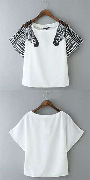 Fashion Zebra Print Short Sleeve Round Neck T-shirt