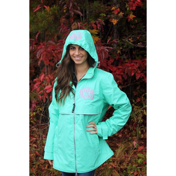 Monogrammed Rain Coat Charles River Personalized Gifts for Her New... (€48) ❤ liked on Polyvore featuring outerwear, coats, grey, women's clothing, hooded coat, monogrammed rain coat, grey coat, waterproof rain jacket and gray coat