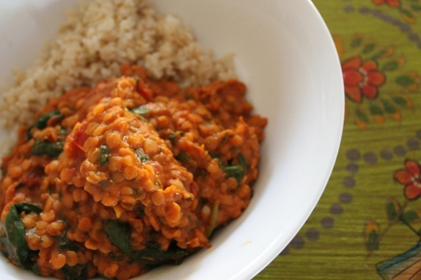 Ginger and coconut red lentil curry