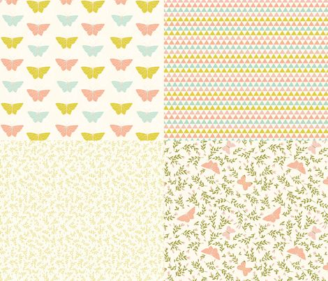 Spoonflower Fabric of the week voting: Butterfly coordinates