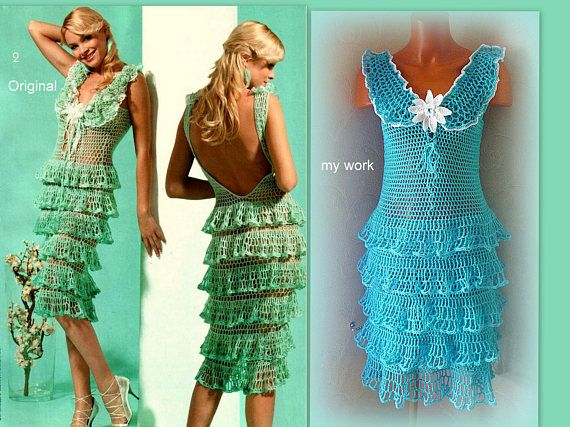 Ruffle dress Green blue Crochet lace dress with white flower