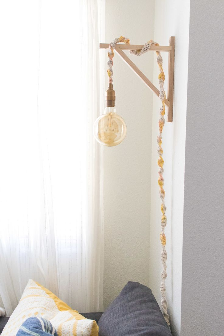 Make a Macrame Wrapped Wall Light in Less than an Hour  /