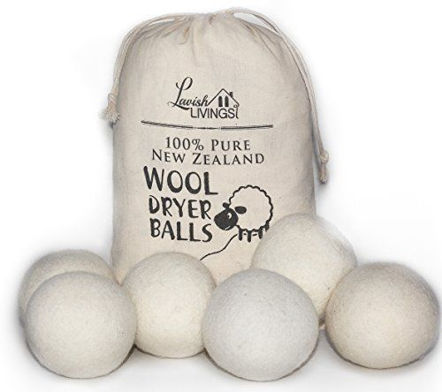 All Natural Wool Dryer Balls - 6-Pack XL Premium - Bonus Storage Bag Included - Replace Harmful Fabric Softeners and Dryer Sheets. Softens and Reduces Wrinkles in Laundry and Clothing. Lavish Livings