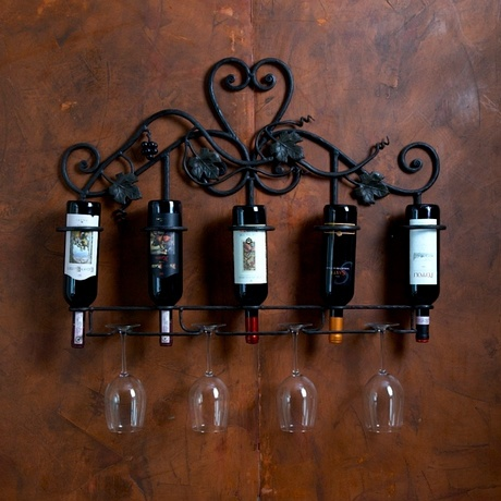 Wrought Iron Wall Wine Bottle & Glass Holder