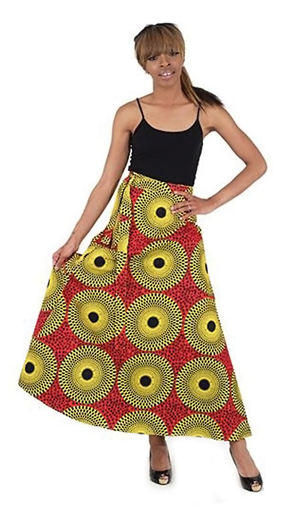 """Sunburst Print Wrap Skirt - Sunburst Print Wrap Skirt Flirty, fresh and fun.  This sunburst print wrap skirt can be worn over a bathing suit or worn with a blouse or tank top. It has a cheerful, bright African design of yellow sunbursts on an orange background. You wrap this skirt around you and tie it off with two straps. It measures 45"""" wide and 39"""" long. #african #africa #africanfashion #womensfashion #tribal #pattern #skirt #dressup #dressycasual #fashion #wearit #africanart"""