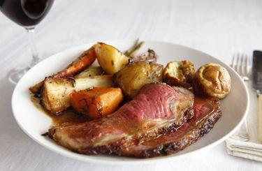 Roast sirloin of beef with horseradish gravy