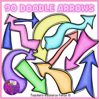 90 Doodle Arrows: crayon effect