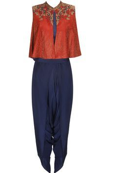 Red and blue floral embroidered jacket with dhoti pants available only at Pernia's Pop Up Shop.