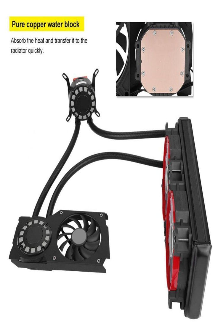 92 99 2 Pumps All In One Cpu Gpu Water Cooling Radiator Cooler