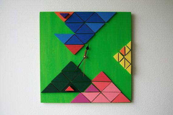 Deco Tectonic / Wood wall clock / Geometric mosaic / by DecoBoxRo, $109.00