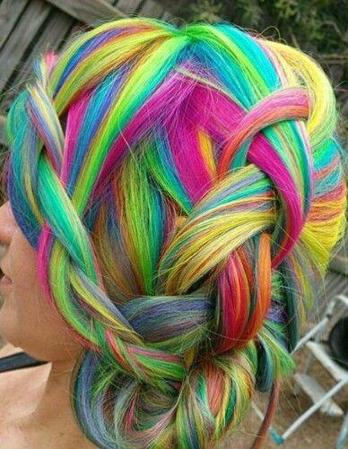 Rainbow braided dyed hair @katelsmac