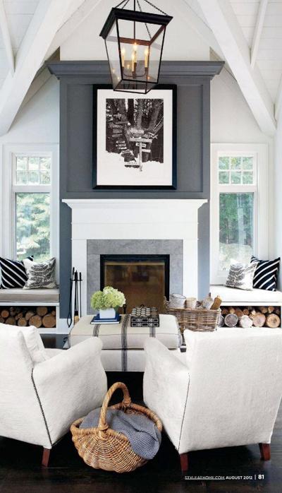 Dark Grey Fireplace Wall White Mantel Light Grey Tile