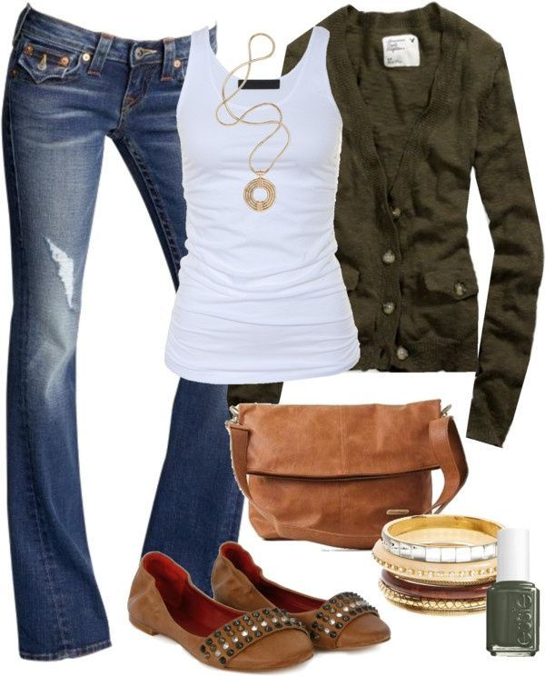Love this casual fall outfit! … dont know if I could pull it off, but I love i