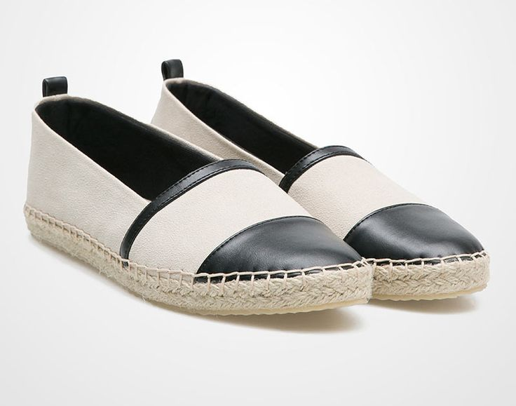 Black white Espadrilles by Proudly Shoes. Simple 2 tone espadrilles with nude and black color, pair it with blue skinny jeans and tee for casual look, this espadrilles is comfortable and is very versatile.    IDR. 330.000