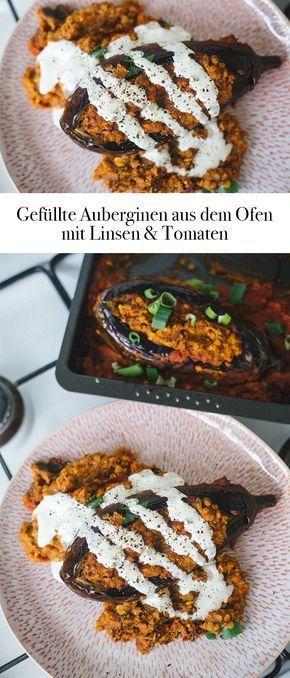 Gefüllte Auberginen aus dem Ofen – mit Linsen in Tomatensoße