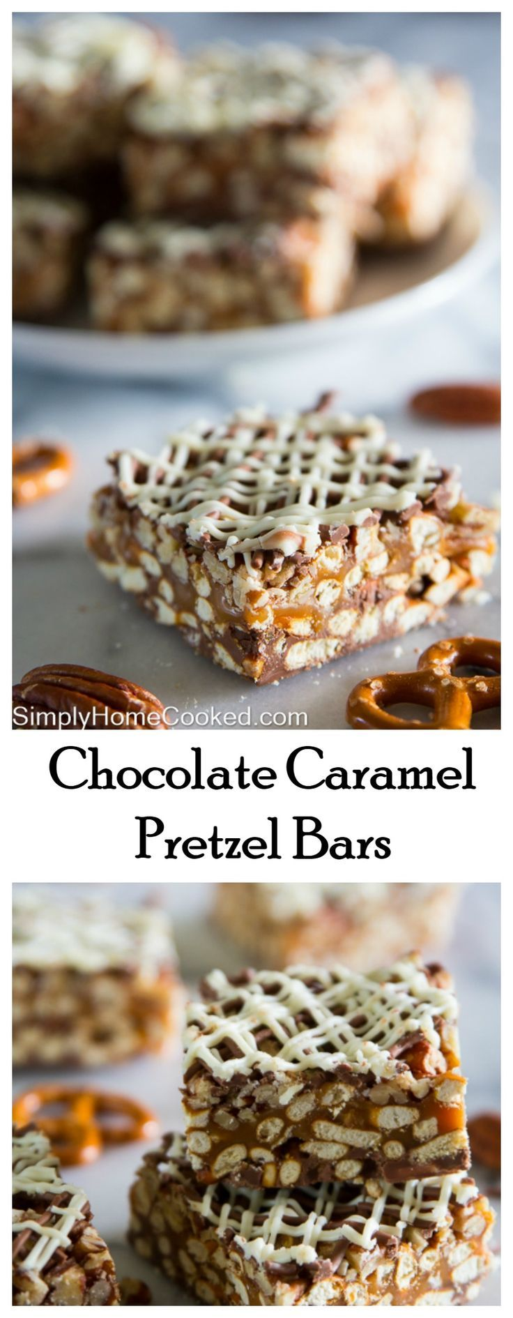 Chocolate caramel pretzel bars! Only 4 ingredients in these no-bake bars!