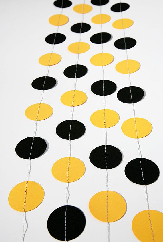 Paper Garland, Mom to bee - Bee colors party decor, Circles paper garland BLACK & YELLOW, Birthday party, children's room, nursery, photo props by TransparentEsDecor, $10.00  https://www.etsy.com/listing/151522707/paper-garland-bee-colors-party-decor?ref=shop_home_active_search_query=bridal%2Bshower