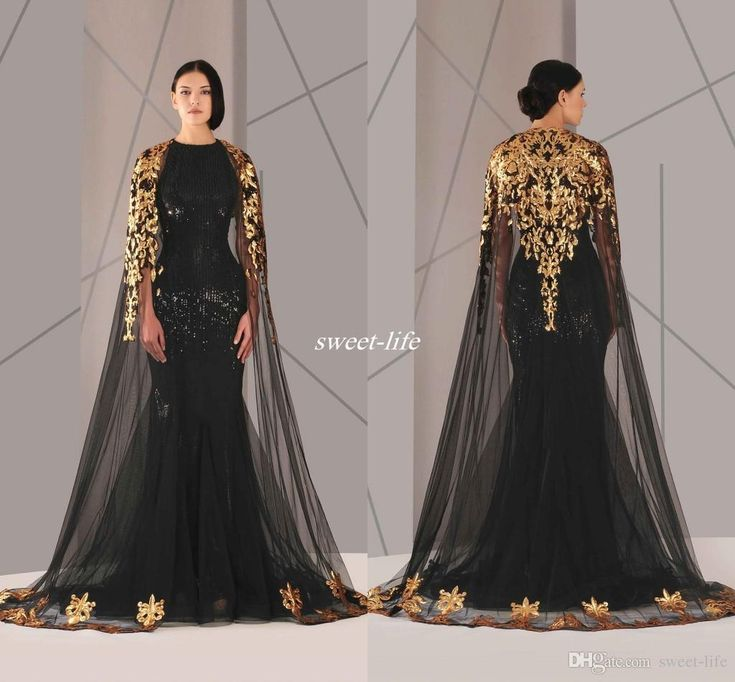 Black Arabic Muslim Evening Dresses Tulle Cloak Gold and Black Sequins Crew Neck 2016 Plus Size Mermaid Formal Wear Long Pageant Prom Dress