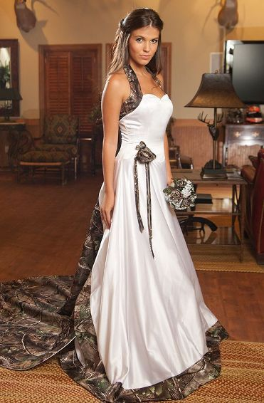 Country wedding dresses with camo