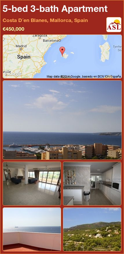 5-bed 3-bath Apartment in Costa D´en Blanes, Mallorca, Spain ►€450,000 #PropertyForSaleInSpain