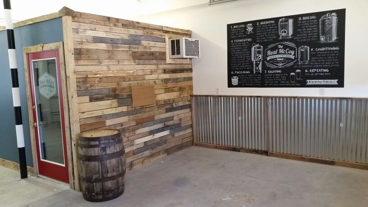 Pallet Wall With Corrugated Metal The Real Mccoy Beer Co