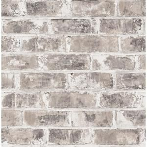 Brewster Jomax Grey Warehouse Brick Strippable Roll Covers 56 4 Sq Ft Uw24761 The Home Depot Faux Brick Wallpaper Faux Brick Walls Brick Wallpaper