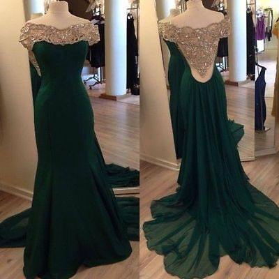 Elegant Off Shoulder Long Emerald Green Mermaid Party Evening Prom Dress Custom