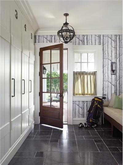 Bring The Outdoors In With Forest Wallpaper In The Foyer