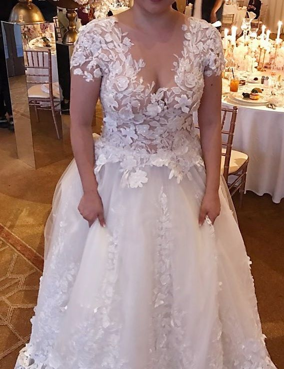 3d Short Sleeve Plus Size Flower Wedding Gown From Darius Bridal