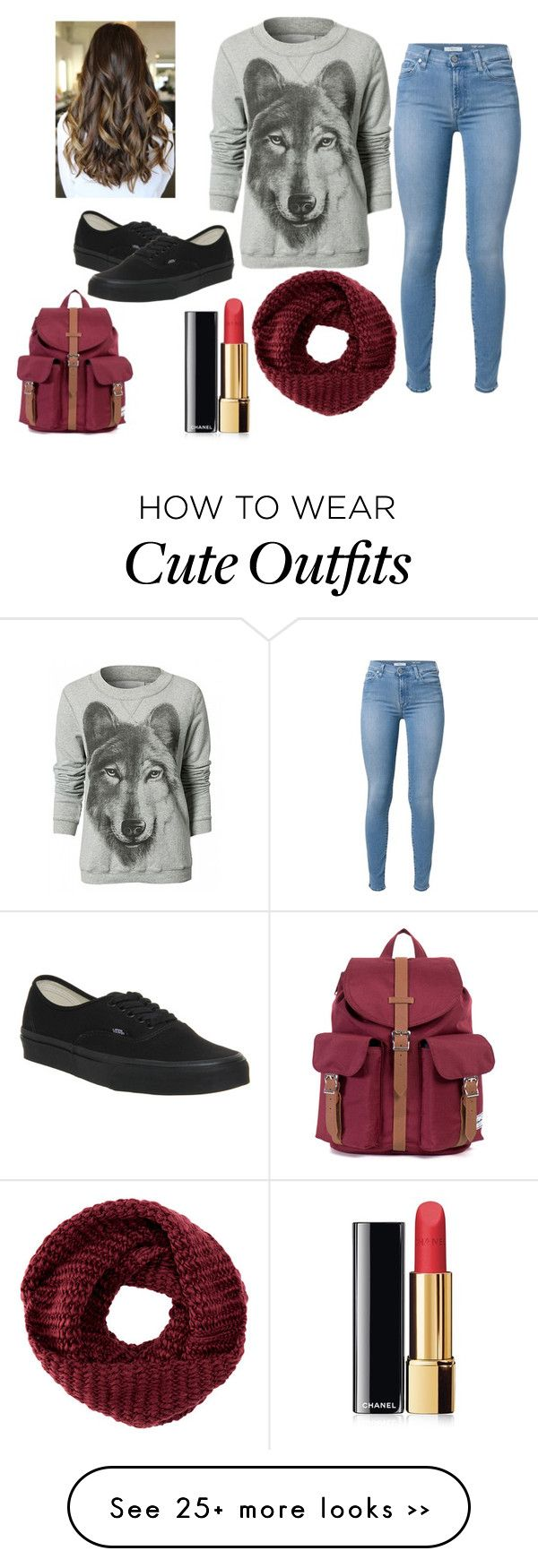 """Cute school outfit idea !"" by kamilla-fyle on Polyvore featuring 7 For All Mankind, TOMS, Chanel, Vans and Herschel"