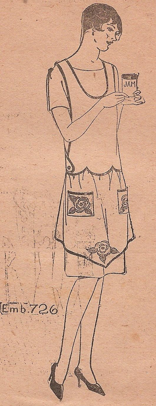 Free Sewing Patterns Aprons | Vintage 1920s BIB APRON Sewing Pattern FLAPPER Era Antique Criss Cross ...