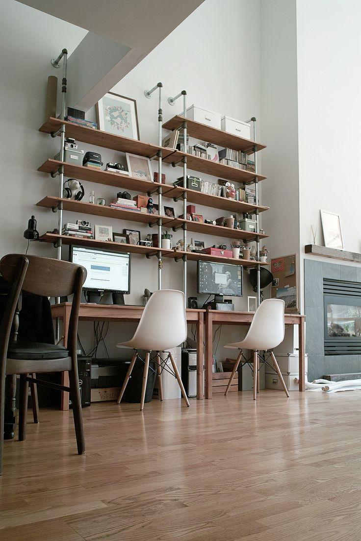 My home. Industrial pipe shelves. San Francisco loft.